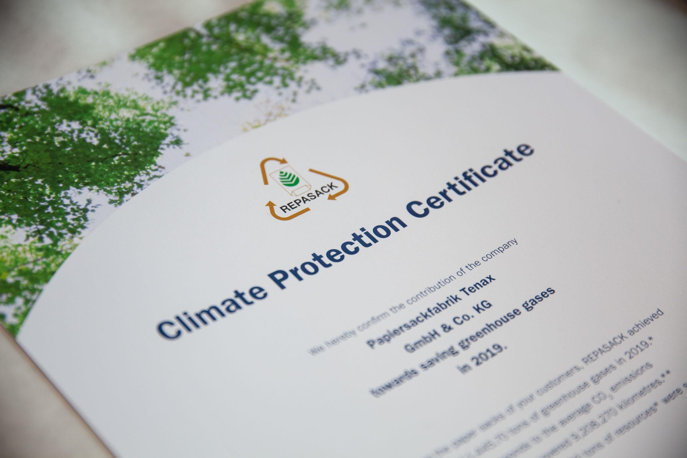 REPASACK-Klimazertifikat von TENAX