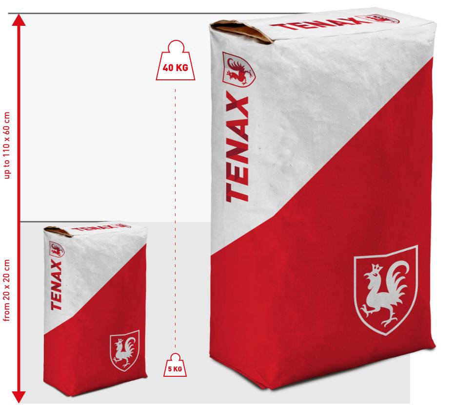Grafik zeigt die maximalen Kapazitäten eines TENAX-Papiersacks
